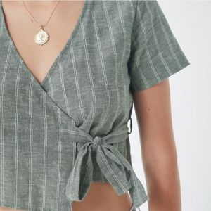 UP Linen Blend Striped Wrap Crop Top